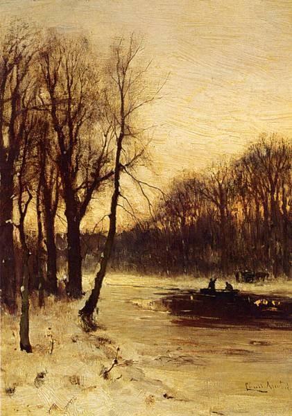 Figures In A Winter Landscape At Dusk